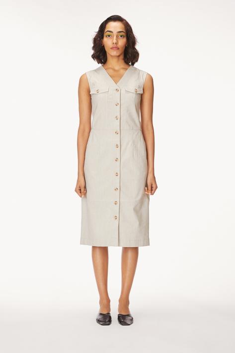 buttondown midi dress